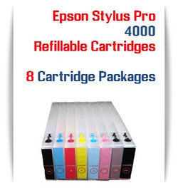 8 Refillable Cartridge Package - Epson Stylus Pro 4000 Refillable Ink Cartridges 300ml