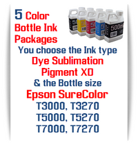 5 Bottle Package Dye Sublimation Bottle Ink or Pigment XD Epson SureColor T-Series Printers