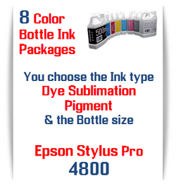 8 Bottles Compatible UltraChrome Pigment Ink or Dye Sublimation Ink Epson Stylus Pro 4800 printers