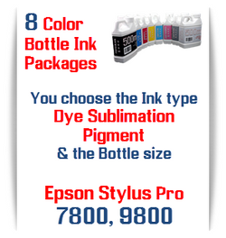 8 Bottles Compatible UltraChrome Pigment Ink or Dye Sublimation Ink Epson Stylus Pro 7800, 9800 printers