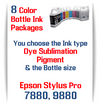 8 Bottles Compatible UltraChrome Pigment Ink or Dye Sublimation Ink Epson Stylus Pro 7880, 9880 printers