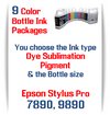 9 Bottles Compatible UltraChrome Pigment Ink or Dye Sublimation Ink Epson Stylus Pro 7890, 9890 printers
