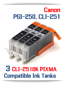 3- Includes: 3- CLI-251XLBK Black Compatible Canon Pixma printer ink tanks