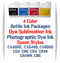 4 Color Bottle Ink - Epson Stylus CX4600, CX6400, CX6600, C64, C66, C84, C84N, C84WN, C86