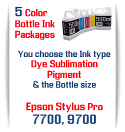 5 Bottles Compatible UltraChrome Pigment Ink or Dye Sublimation Ink Epson Stylus Pro 7700, 9700 printers