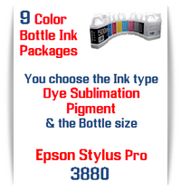 9 Bottles Compatible UltraChrome Pigment Ink or Dye Sublimation Ink Epson Stylus Pro 3880 printers