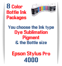 8 Bottles Compatible UltraChrome Pigment Ink or Dye Sublimation Ink Epson Stylus Pro 4000 printers