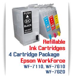 4 Refillable Cartridges Epson WorkForce WF-7110, WF-7610, WF-7620