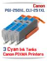 3 Cyan Ink Tank Package CLI-251XLC Canon Pixma printers