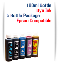 5 Color Package 180ml Bottle Dye Ink for Epson Small all in one Desktop Printers