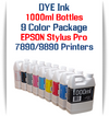 9 Color Package 1000ml Bottle DYE Ink Epson Stylus Pro 7890/9890 Printers