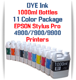 11 Color Package 1000ml Bottle DYE Ink Epson Stylus Pro 7900/9900 printers