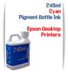 Cyan 240ml Pigment Bottle Ink Epson All in One Desktop Printers