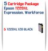 5 Black Cartridge Package - 5 T220XL120 Epson Expression XP, WorkForce WF Compatible Ink Cartridges