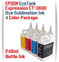 EPSON Expression ET-3600 EcoTank 4 Color 240ml Dye Sublimation Bottle Ink