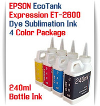 EPSON Expression ET-2600 EcoTank 4 Color 240ml Dye Sublimation Bottle Ink
