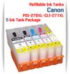 5 Refillable Ink Tank Package PGI-270XL, CLI-271XL Canon Pixma