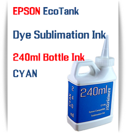 Cyan EPSON EcoTank 240ml Dye Sublimation Bottle Ink