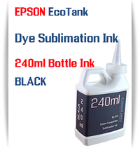 Black EPSON EcoTank 240ml Dye Sublimation Bottle Ink