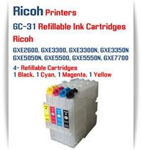 RICOH GC-31 - 4 Color Refillable Ink Cartridges