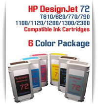 6- multi-color HP 72 Compatible Ink Cartridges 130ML  Included Colors: 1- Matte Black, 1- Photo Black, 1- Cyan, 1- Magenta, 1- Yellow, 1- Gray