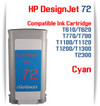 Cyan HP 72 Compatible Ink Cartridges 130ML