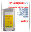 Yellow HP 72 Compatible Ink Cartridges 130ML