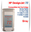 Gray HP 72 Compatible Ink Cartridges 130ML