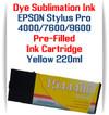 Yellow Epson Stylus Pro 4000, 7600, 9600 printer Dye Sublimation Ink Cartridge 220ml