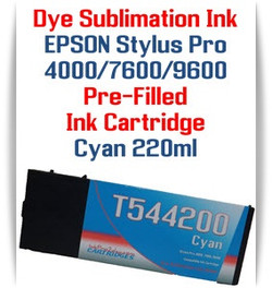 Cyan  Epson Stylus Pro 4000, 7600, 9600 printer Dye Sublimation Ink Cartridge 220ml