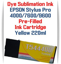 Yellow  Epson Stylus Pro 4000, 7600, 9600 printer Dye Sublimation Ink Cartridge 220ml