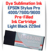Light Black  Epson Stylus Pro 4000, 7600, 9600 printer Dye Sublimation Ink Cartridge 220ml