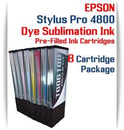 8 Cartridge Package - Epson Stylus Pro 4800 Dye Sublimation Ink Cartridges 220ml