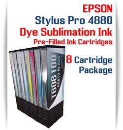8 Cartridge Package - Epson Stylus Pro 4880 Dye Sublimation Ink Cartridges 220ml