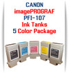 5 - PFI-107 Canon imagePROGRAF Compatible Ink Tanks 130ml