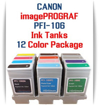 12 - PFI-106 Canon imagePROGRAF Compatible Pigment Ink Tanks 130ml