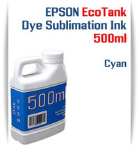 Cyan EPSON EcoTank printer Dye Sublimation Ink 500ml bottle  EPSON Expression ET-2500 EcoTank Printer, EPSON Expression ET-2550 EcoTank Printer, EPSON Expression ET-2600 EcoTank Printer, EPSON Expression ET-2650 EcoTank Printer, EPSON Expression ET-2700 EcoTank Printer, EPSON Expression ET-2750 EcoTank Printer, EPSON Expression ET-3600 EcoTank Printer, EPSON Expression ET-3700 EcoTank Printer   EPSON WorkForce ET-3750 EcoTank Printer, EPSON WorkForce ET-4500 EcoTank Printer, EPSON WorkForce ET-4550 EcoTank Printer, EPSON WorkForce ET-4750 EcoTank Printer, EPSON WorkForce ET-16500 EcoTank Printer