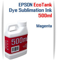 Magenta EPSON EcoTank printer Dye Sublimation Ink 500ml bottle  EPSON Expression ET-2500 EcoTank Printer, EPSON Expression ET-2550 EcoTank Printer, EPSON Expression ET-2600 EcoTank Printer, EPSON Expression ET-2650 EcoTank Printer, EPSON Expression ET-2700 EcoTank Printer, EPSON Expression ET-2750 EcoTank Printer, EPSON Expression ET-3600 EcoTank Printer, EPSON Expression ET-3700 EcoTank Printer   EPSON WorkForce ET-3750 EcoTank Printer, EPSON WorkForce ET-4500 EcoTank Printer, EPSON WorkForce ET-4550 EcoTank Printer, EPSON WorkForce ET-4750 EcoTank Printer, EPSON WorkForce ET-16500 EcoTank Printer