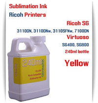 Yellow RICOH 240ml bottle Sublimation Ink   Ricoh SG 3110DN 3110DNw 3110SFNw 7100DN printers  Virtuoso SG400, SG800 printers