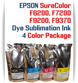 EPSON SureColor F6200, F7200, F9200, F9370 printer Dye Sublimation Ink - 4 Color 1000ml each color with chips