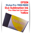 Yellow Epson Stylus Pro 7800/9800 Pre-Filled with Dye Sublimation Ink Cartridge 220ml each