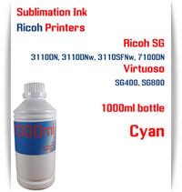 Cyan RICOH 1000ml bottle Sublimation Ink   Ricoh SG 3110DN 3110DNw 3110SFNw 7100DN printers  Virtuoso SG400, SG800 printers