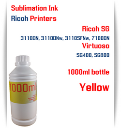 Yellow RICOH 1000ml bottle Sublimation Ink   Ricoh SG 3110DN 3110DNw 3110SFNw 7100DN printers  Virtuoso SG400, SG800 printers