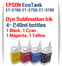 EPSON EcoTank ET-2700, ET-2750, ET-3700 Printer 4 Color Package 240ml bottles Dye Sublimation Bottle Ink