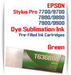 Green Epson Stylus Pro 7900/9900 Pre-Filled Dye Sublimation Ink Cartridge