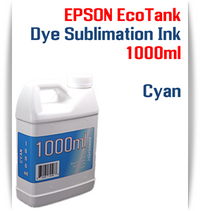 Cyan EPSON EcoTank printer Dye Sublimation Ink 1000ml bottle  EPSON Expression ET-2500 EcoTank Printer, EPSON Expression ET-2550 EcoTank Printer, EPSON Expression ET-2600 EcoTank Printer, EPSON Expression ET-2650 EcoTank Printer, EPSON Expression ET-2700 EcoTank Printer, EPSON Expression ET-2750 EcoTank Printer, EPSON Expression ET-3600 EcoTank Printer, EPSON Expression ET-3700 EcoTank Printer  EPSON WorkForce ET-3750 EcoTank Printer, EPSON WorkForce ET-4500 EcoTank Printer, EPSON WorkForce ET-4550 EcoTank Printer, EPSON WorkForce ET-4750 EcoTank Printer, EPSON WorkForce ET-16500 EcoTank Printer