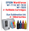 4 Refillable Ink Cartridges (empty) 4 100ml Dye Sublimation Ink Package Epson WorkForce WF-7110, WF-7610, WF-7620 printers
