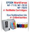 4 Refillable Ink Cartridges (empty)  4 240ml Dye Sublimation Ink Package   Epson WorkForce WF-7110, WF-7610, WF-7620 printers