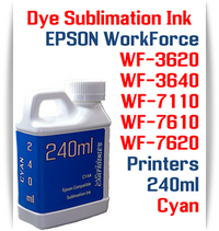 Cyan 240ml bottle Dye Sublimation Ink  Epson WorkForce WF-3620, WF-3640, WF-7110, WF-7610, WF-7620 printers