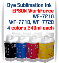 4- 240ml bottles Dye Sublimation Ink Package   Included Colors: Black, Cyan, Magenta, Yellow  Epson WorkForce WF-7210, WorkForce WF-7710, WorkForce WF-7720 printers